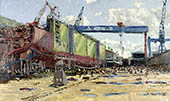 H.D. Tylle - HDW-Shipyard, on-site painting, HDW, Kiel Germany, 04/15/1999, 12 x 20 inch, oil on cardboard