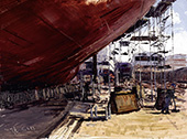 H.D. Tylle - HDW-Shipyard, on-site painting, HDW, Kiel Germany, 04/15/1999, 12 x 16 inch, oil on cardboard