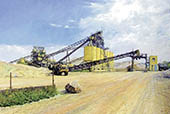 H.D. Tylle - Gravel plant, Bauer AG, Delitzsch, Germany, 2001, 55 x 83 inch, oil/canvas