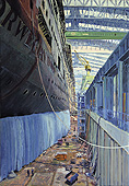 H.D. Tylle - Norwegian Dawn, Meyer Shipyard, Germany, 2002, 47 x 31 inch, oil/canvas