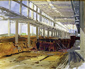 H.D. Tylle - Construction Site PM4, Nordland Paper, 05/28/1990, 16 x 20 inch, oil on cardboard