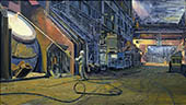 H.D. Tylle - In the Steel Plant, Peine Salzgitter, Germany, 2002, 31 x 55 inch, oil/canvas
